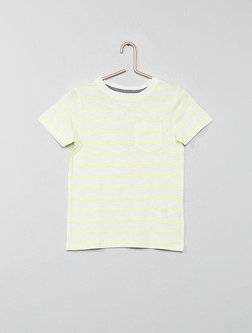Tee-shirt rayé en maille flammée                                                     jaune/jaune fluo