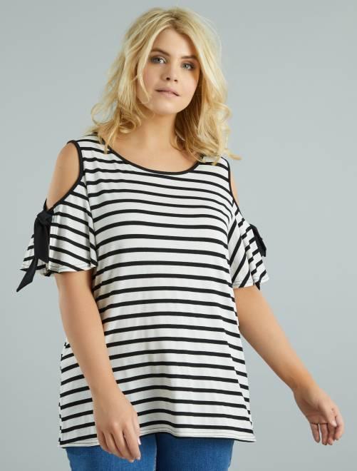 00138a7171 Tee-shirt rayé épaules dénudées Grande taille femme - rayé noir ...