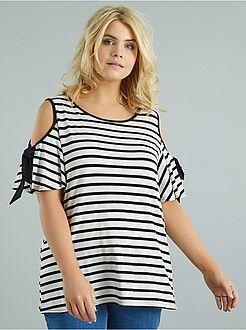 T-shirt, débardeur taille 58/60 - Tee-shirt rayé épaules dénudées - Kiabi