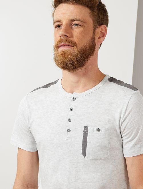 Tee-shirt regular col tunisien                                         blanc chiné