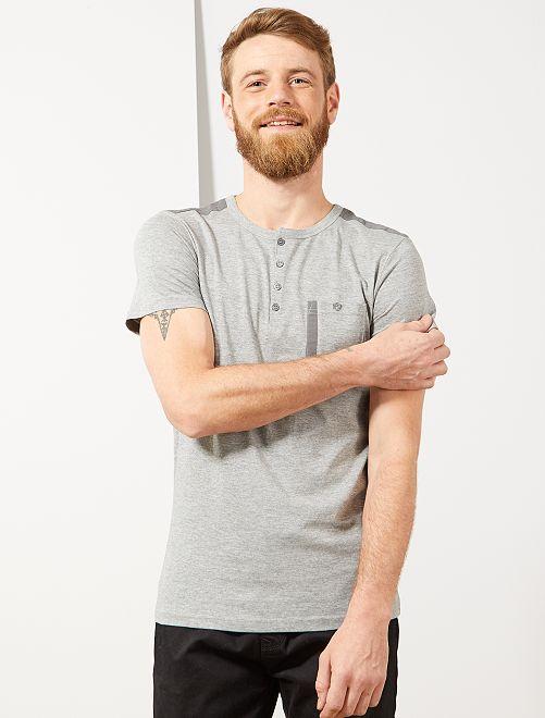 Tee-shirt regular col tunisien                                         gris chiné