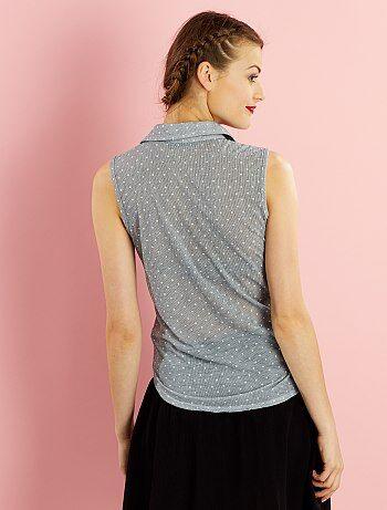 tee shirt sans manches effet chemisier nouer femme. Black Bedroom Furniture Sets. Home Design Ideas
