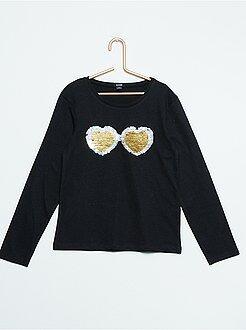 Fille 3-12 ans Tee-shirt sequins magiques manches longues