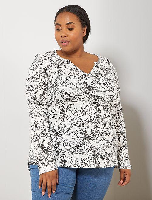 Tee-shirt tunisien imprimé                                                                                                                                         blanc fauve Grande taille femme