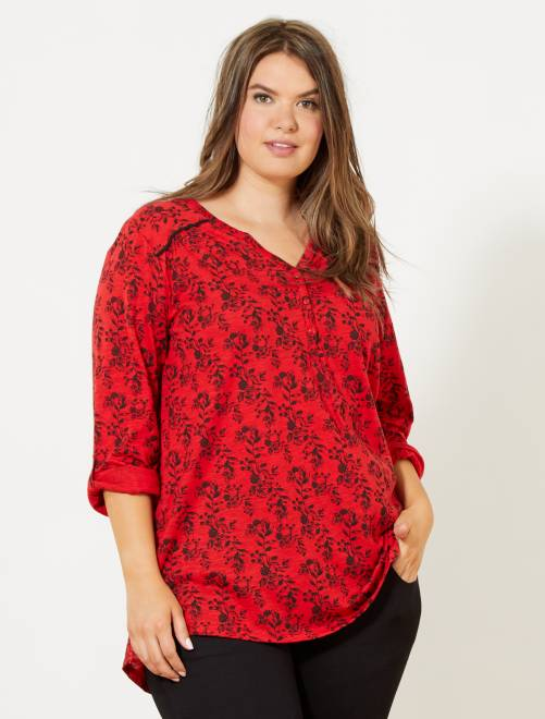 Tee-shirt tunisien imprimé                                                                     rouge fleuri