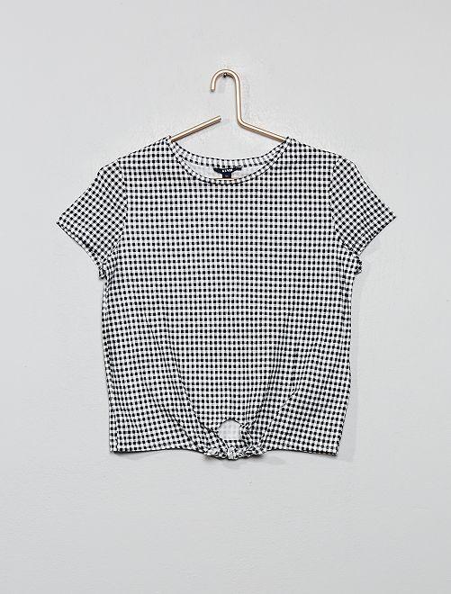 Tee-shirt vichy avec nœud                             vichy