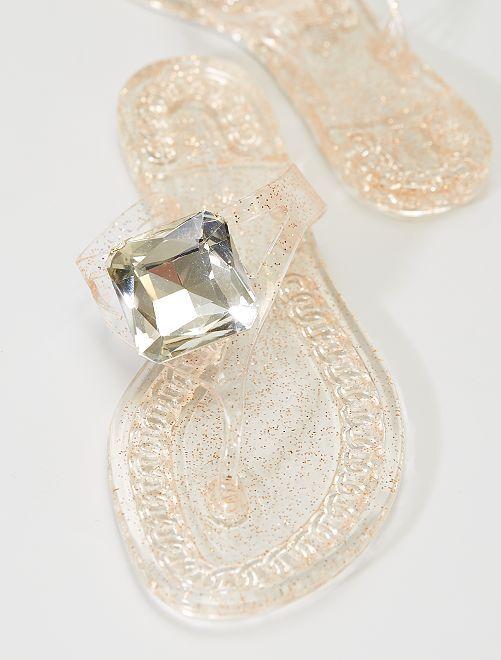 Tongs 'diamants'                             beige foncé