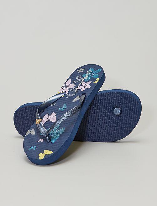 Tongs imprimées 'papillons'                                                     bleu marine