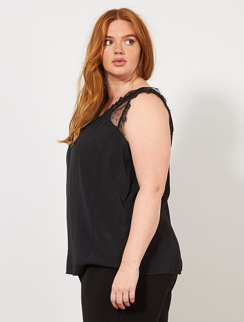 Top à bretelles effet lingerie                                         noir Grande taille femme