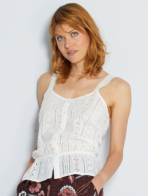 Top à broderie anglaise                                         blanc