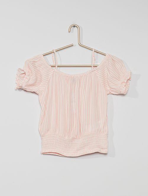 Top à encolure bardot                                         rose/blanc rayé