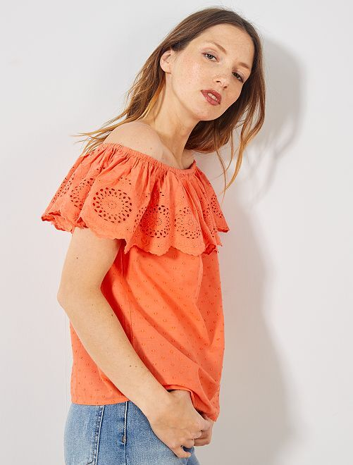 Top bardot à broderie anglaise                     orange