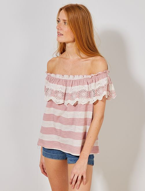 Top bardot broderie anglaise                                                                 rose