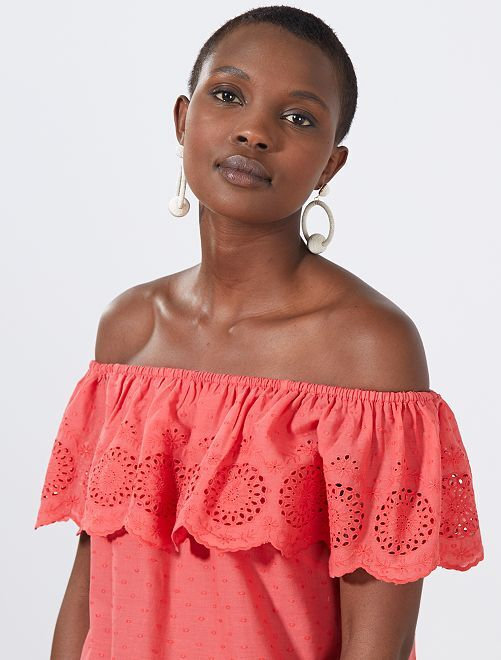 Top bardot plumetis et broderie anglaise                                                                                         rouge