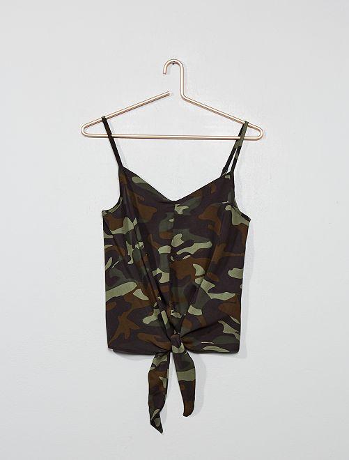 Top bretelles base nouée                                         kaki camouflage Fille adolescente