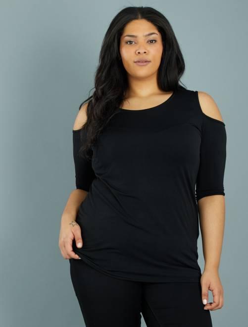 Top fluide épaules dénudées                              noir Grande taille femme