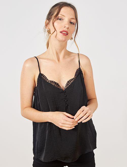 Top lingerie orné de dentelle                                         noir