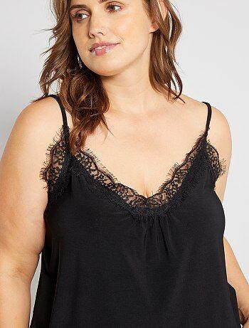 Grande taille femme - Top nuisette avec dentelle - Kiabi