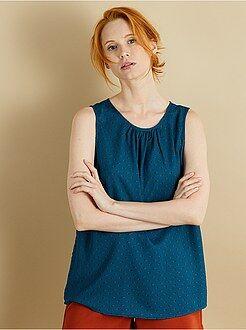 Top, blouse bleu - Top sans manches en voile