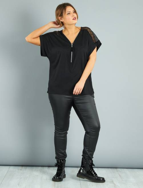 Top zippé avec dentelle                             noir Grande taille femme