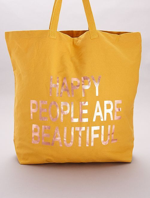 Totebag en tissu 'Happy people are beautiful'                             jaune