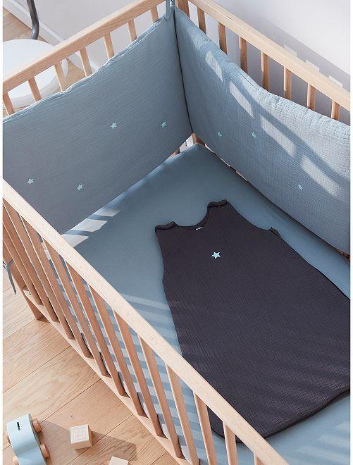 Tour de lit en gaze de coton                             bleu