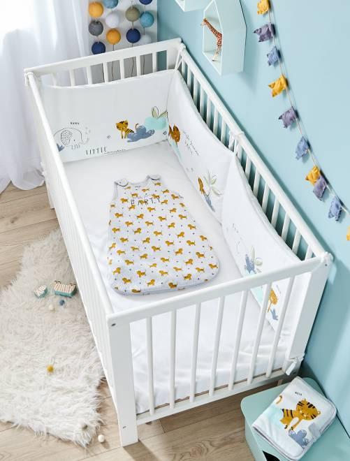 Tour de lit en velours 'Animaux de la jungle'                             blanc Bébé fille