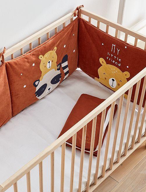Tour de lit velours 'animaux'                             marron