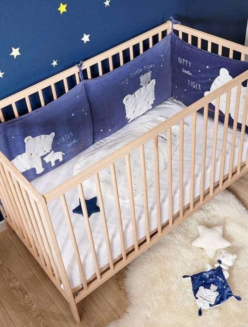 tour de lit velours imprim 39 tigres 39 b b gar on bleu. Black Bedroom Furniture Sets. Home Design Ideas
