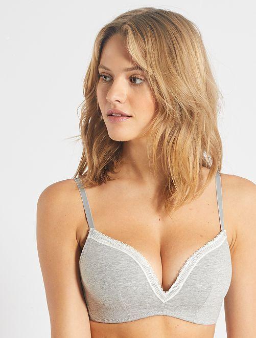Triangle paddé coton sans armatures                                                                                             gris chiné