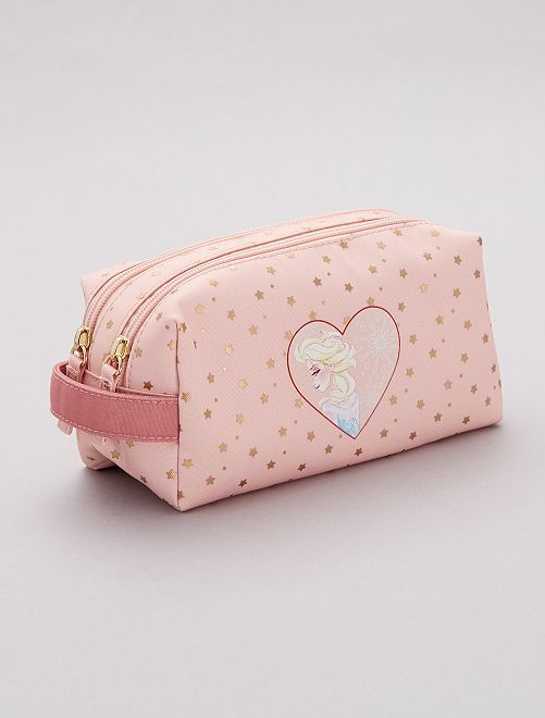 Trousse 2 compartiments 'La Reine des Neiges'                             rose