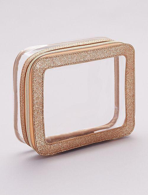 Trousse de rangement rectangulaire pailletée                             transparent