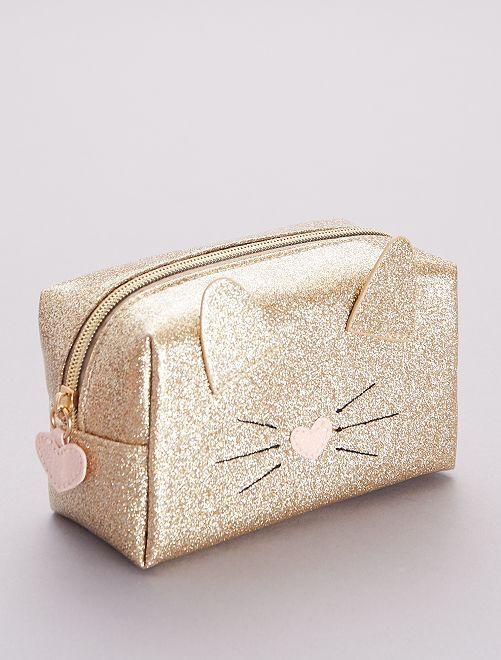 Trousse de toilette 'chat' à paillettes                             doré