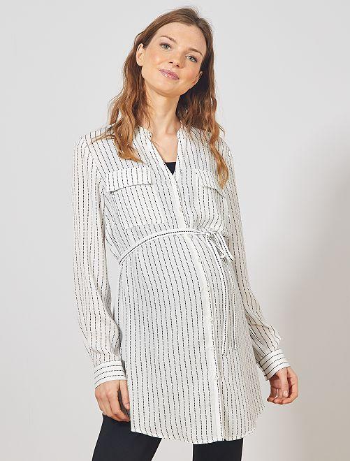 Tunique longue de grossesse                                         blanc rayé