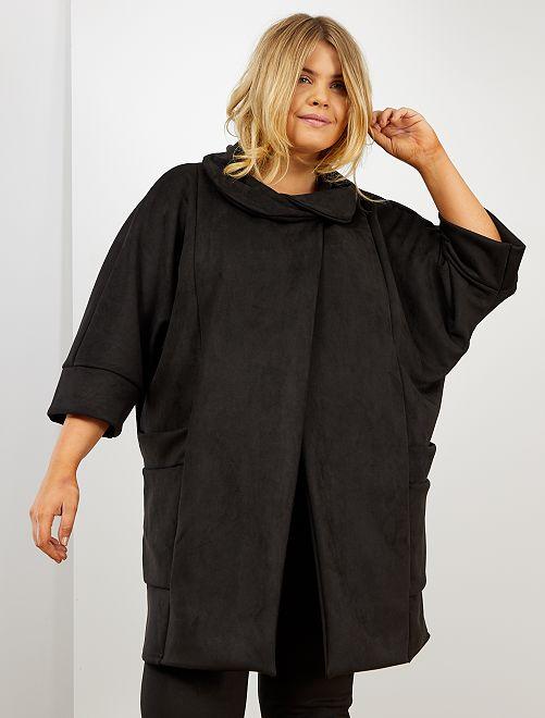 Veste aspect daim avec col loose                     noir