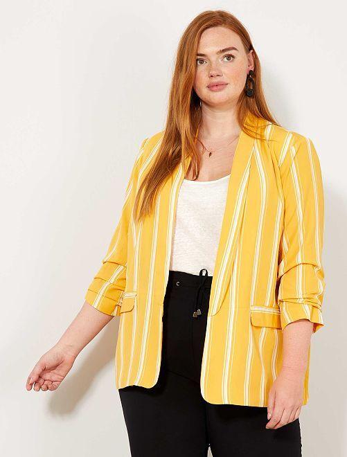 Veste aux manches retroussées                             jaune Grande taille femme