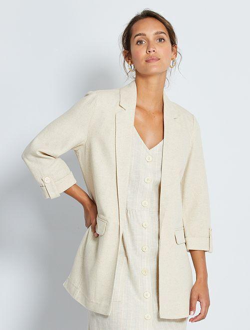 Veste blazer avec lin                                         beige