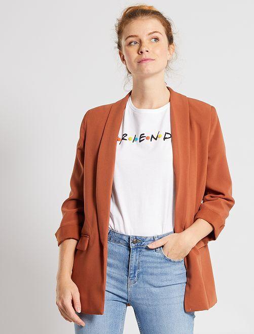 Veste blazer col droit                                                                                                                                         marron