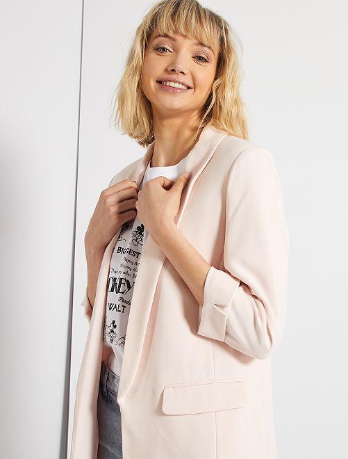 Veste blazer col droit                                                                                                                                                                 rose clair
