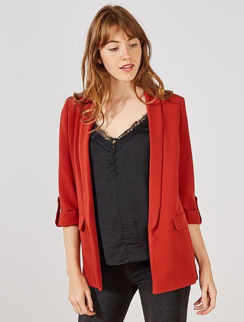 Veste blazer col droit                                                                                         rouge ocre Femme