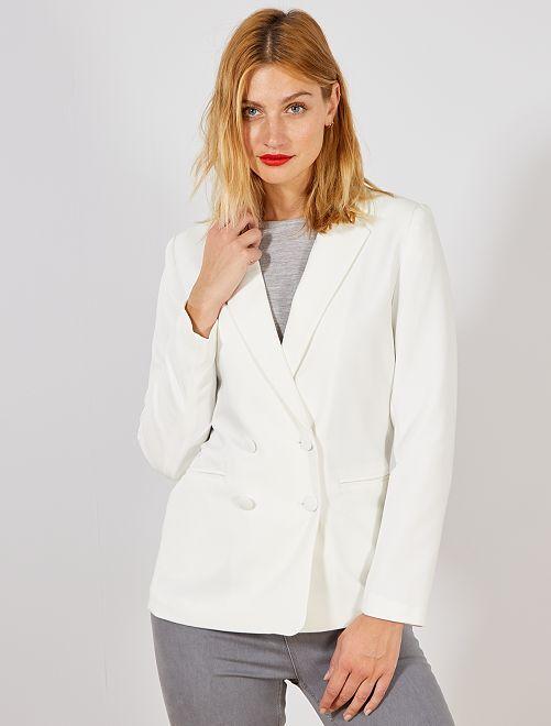 Veste blazer double boutonnage                                                     blanc Femme