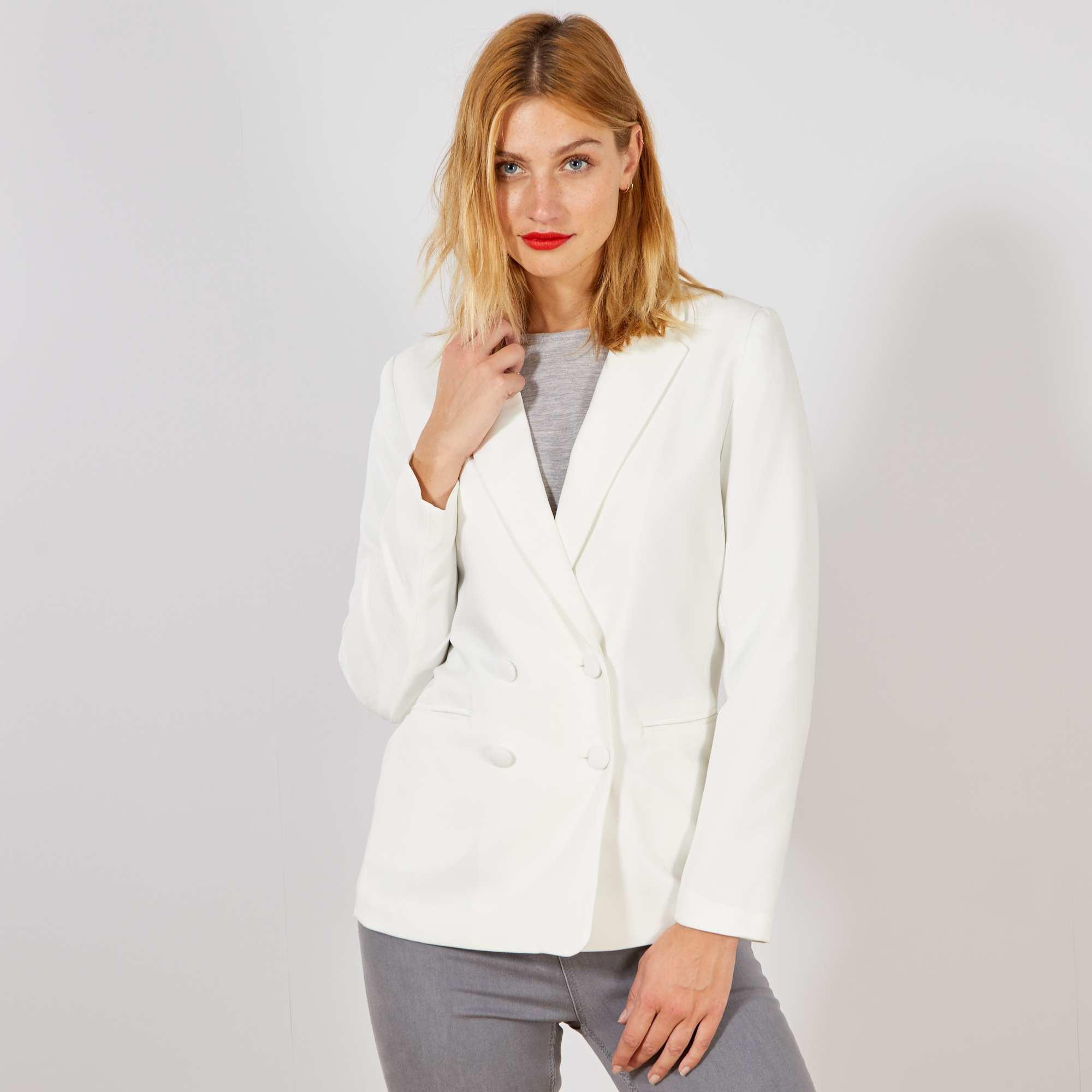 345d8a23e7c Veste blazer double boutonnage Femme - blanc - Kiabi - 25