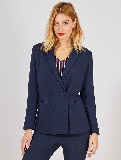 Veste blazer double boutonnage                                             bleu Femme