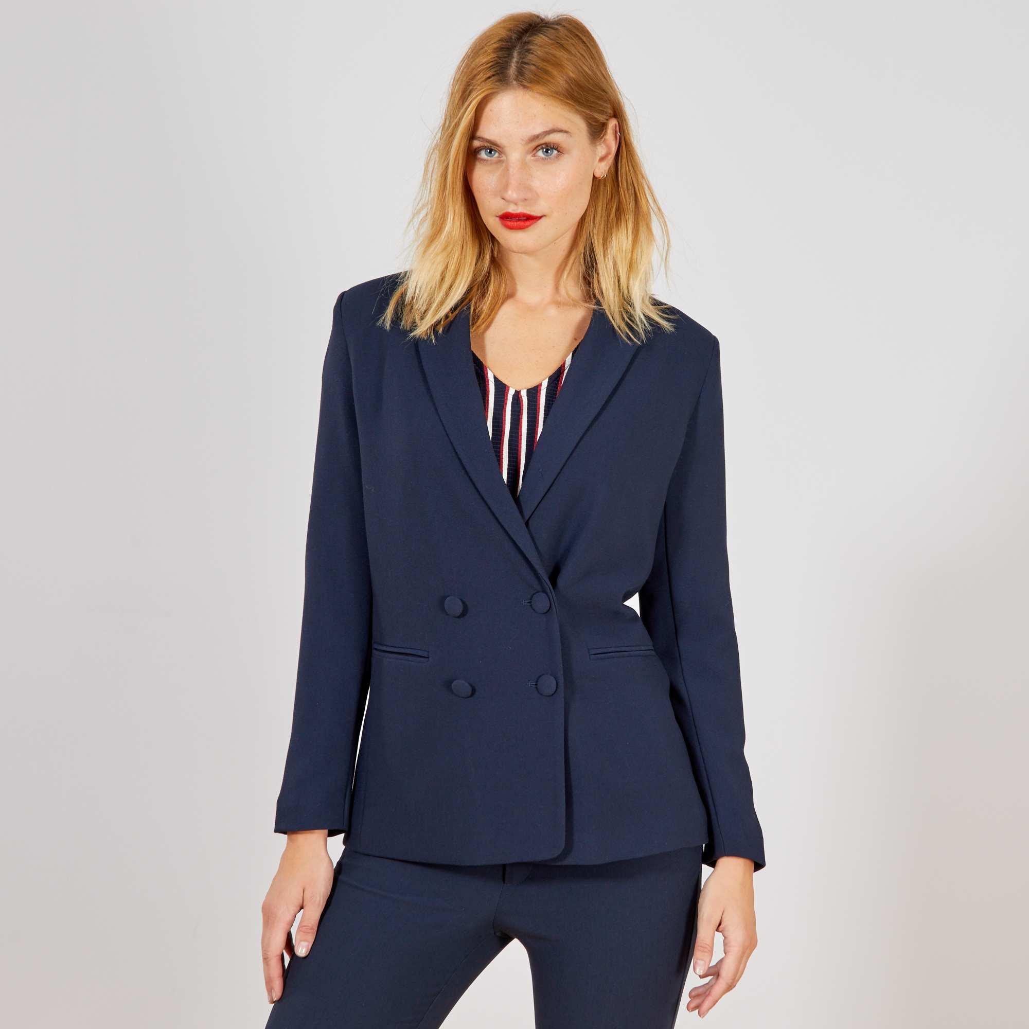 eb33f5df2739 Veste blazer double boutonnage bleu Femme. Loading zoom. Cliquez sur  l image pour l agrandir. zoom