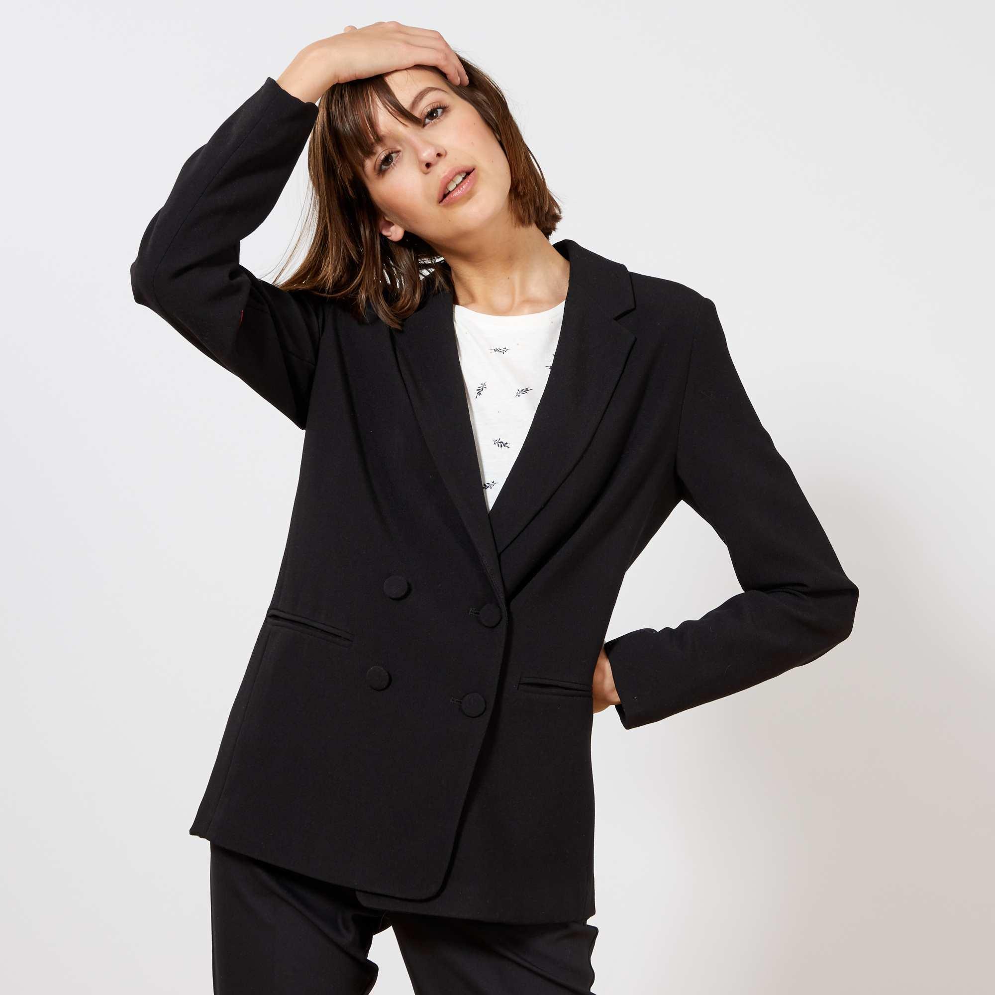 75f34ddc79 Veste blazer double boutonnage Femme - noir - Kiabi - 25,00€
