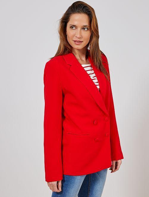Veste blazer double boutonnage                                                     rouge Femme
