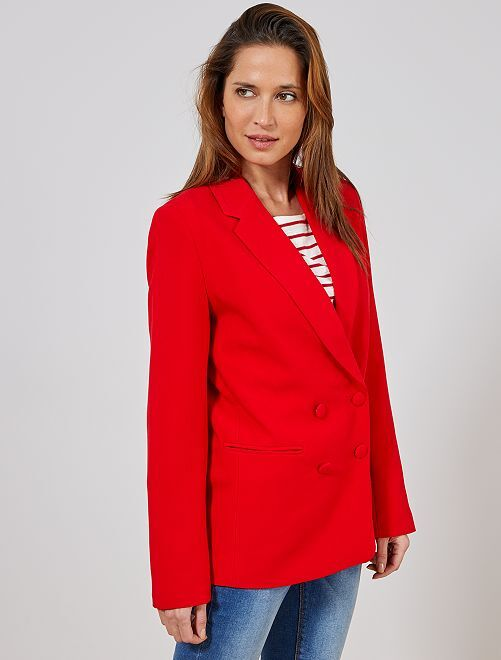 d7228071b4b Veste blazer double boutonnage Femme - rouge - Kiabi - 25