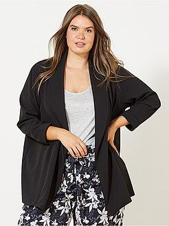 Grande taille femme - Veste blazer en maille crêpe - Kiabi