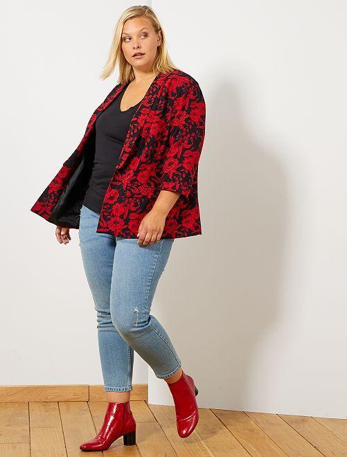 Veste blazer imprimée                                         noir/rouge Grande taille femme