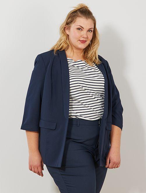 Veste blazer manches 3/4                                         bleu Grande taille femme